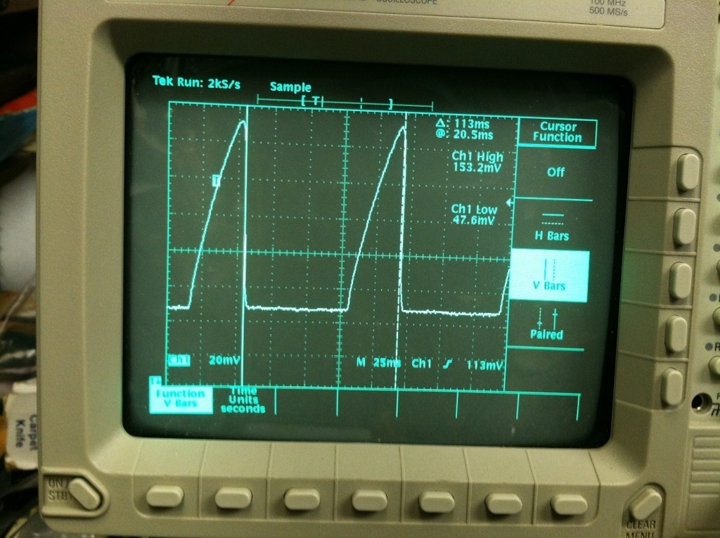 Scope shot of LED Cathode Voltage