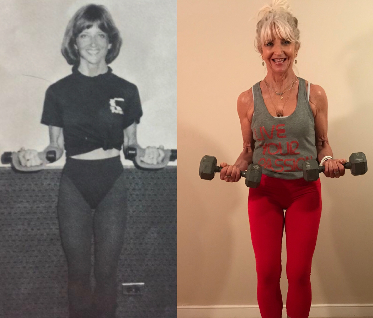 Left photo- Assistant Director/Fitness Coordinator Denver Tech Sporting Club, 1984  Right photo- Today, Health Coach, Personal Trainer and Weight Management Specialist running my own business since 2003
