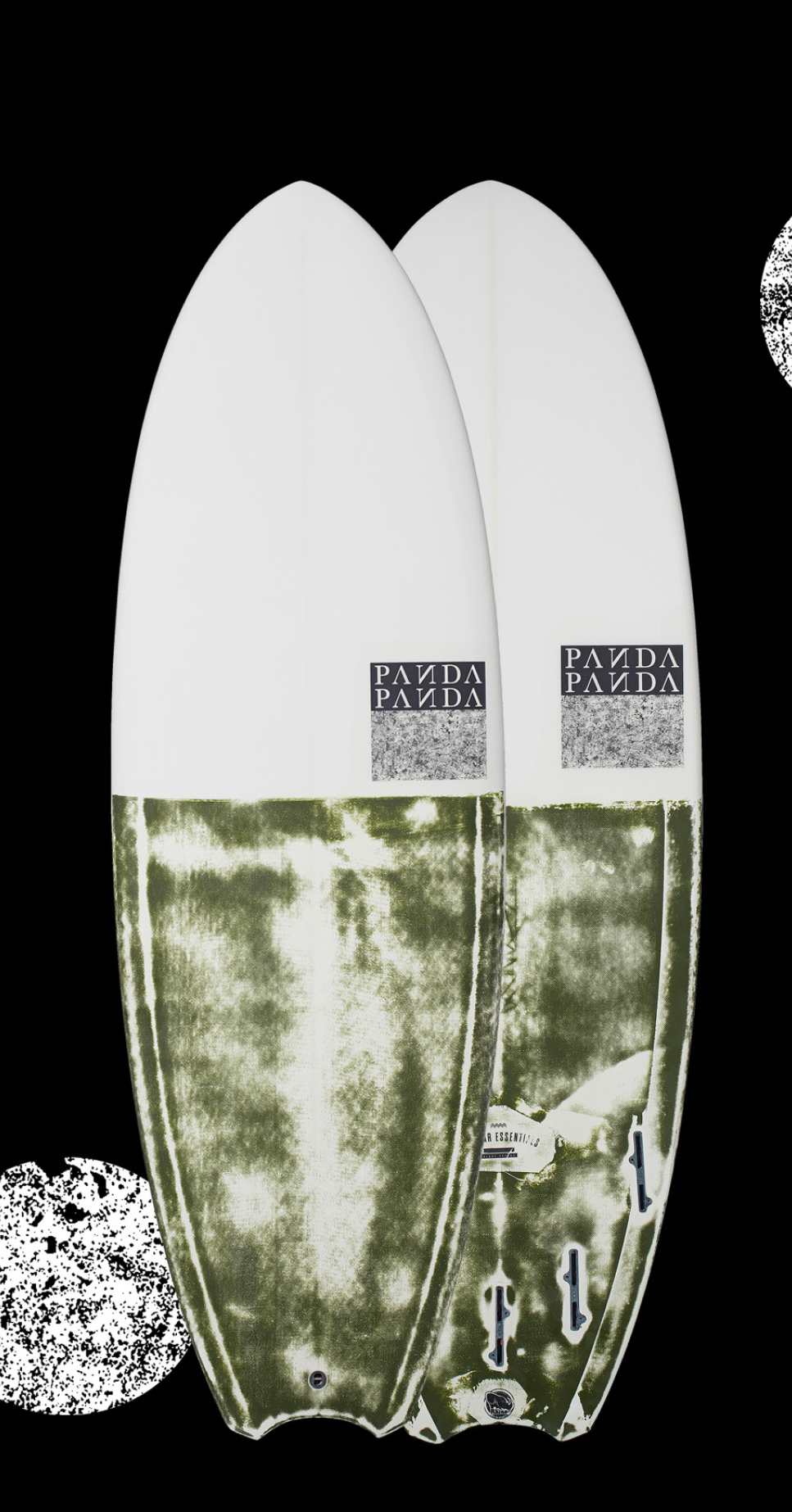 BEAR ESSENTIALS   This is a new take on the Doinker. We have pulled the nose and tail in (also adding flip to the nose) and giving you the option of a 5 fin setup. This is for the guy that wants to rip apart tiny wave condi  -   tions. It features a single to deep double concave, with concave vee through the tail combined with a crazy looking diamond/cre  -   sent tail which shortens the rail line, but gives bite at the same time.