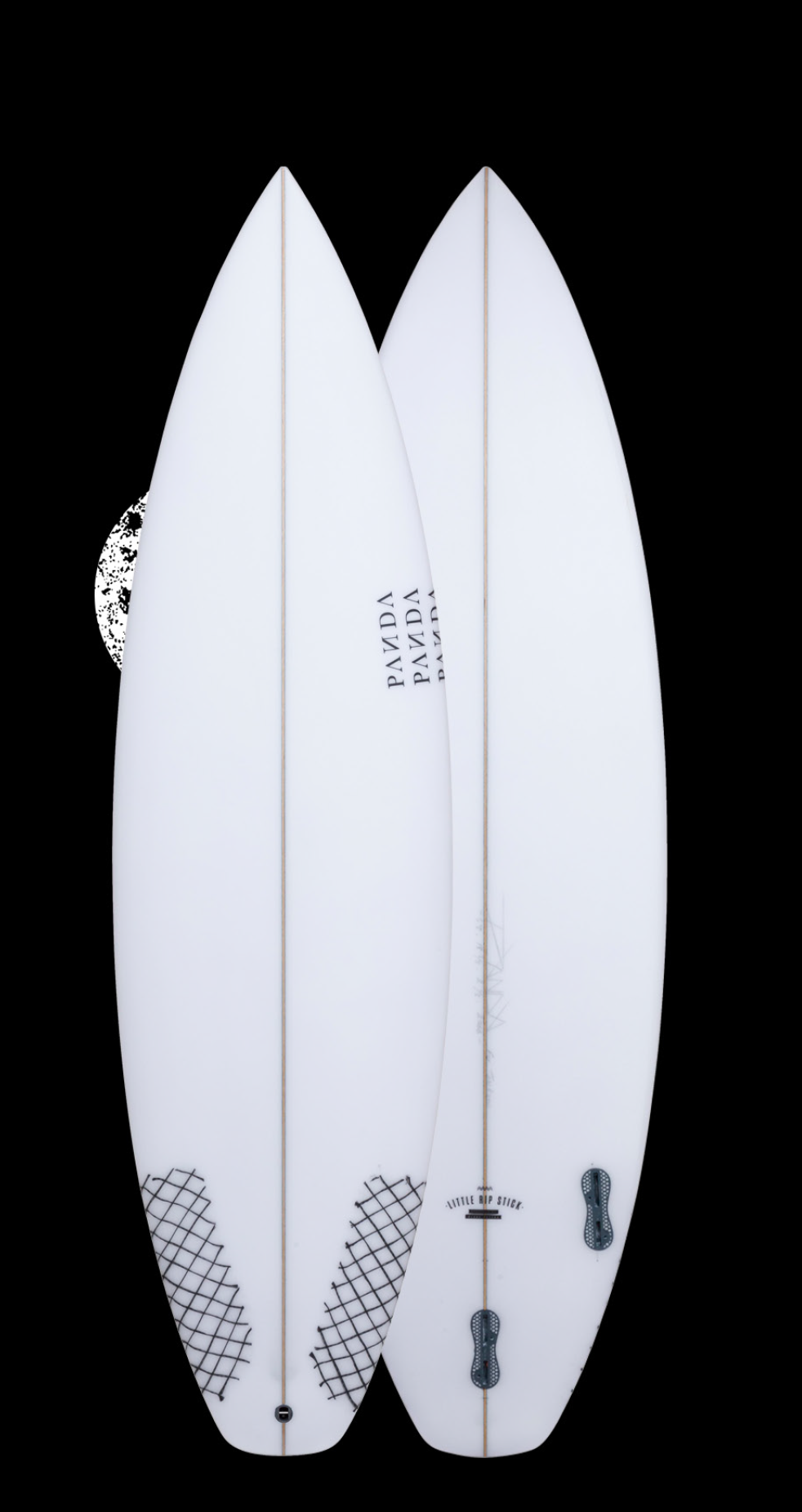 LITTLE RIP STICK   This is our best selling shortboard. For what was our step down shortboard a few years ago, this has now become our all rounder. Suited perfectly for beach breaks from 2-5ft, it is a perfect step down from the Pandamonium model, with a little added nose and tail width. Ride 1 inch shorter than you are tall, 1/4 wider and 1/16 thicker than your standard shortboard. If you enjoy this board, then also give The Norts model (for hollower waves) or the Pandamoni  -   um (for slightly bigger, punchier waves) a whirl.
