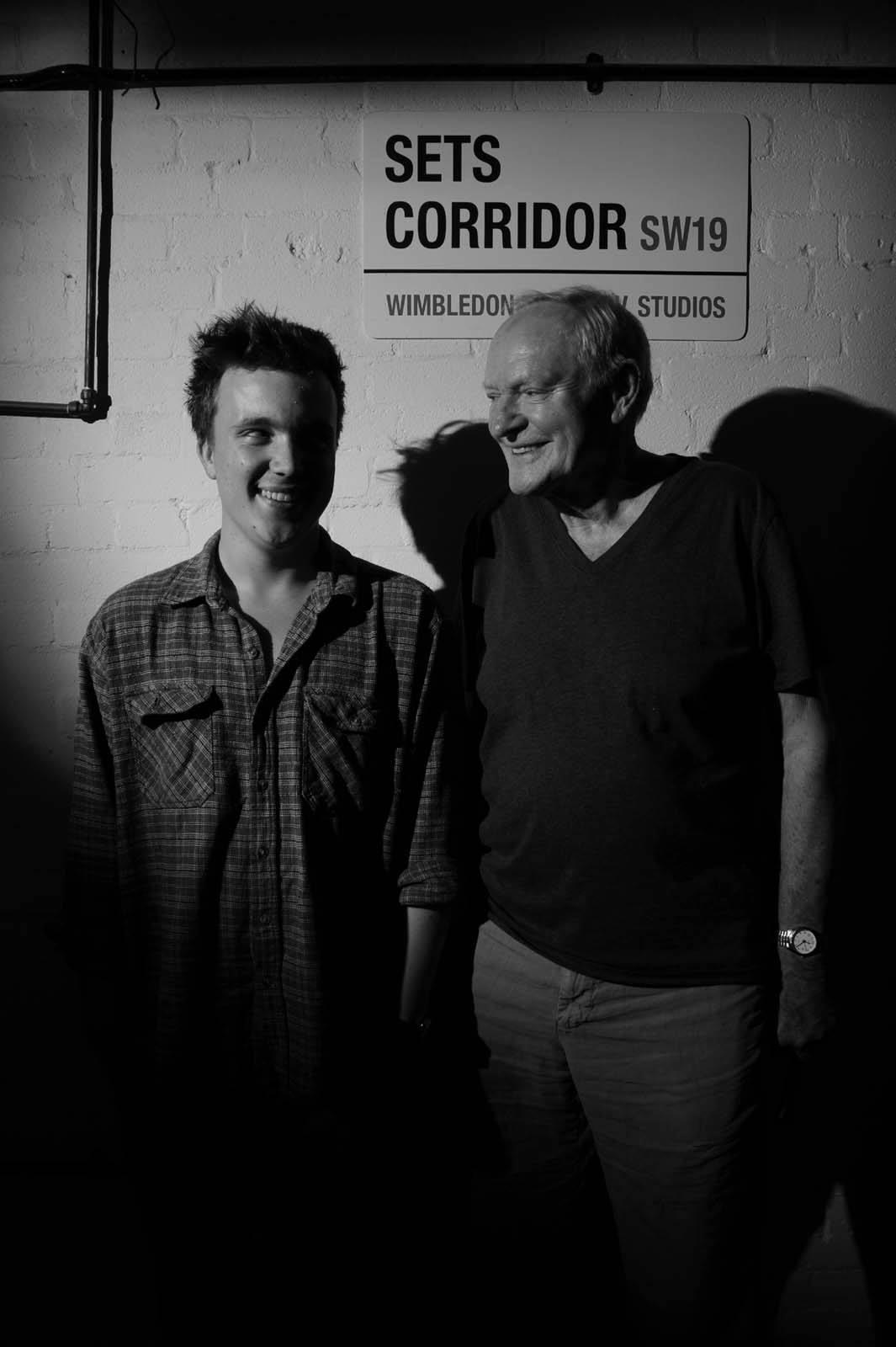 Director Tom Sands alongside the film's villain   Julian Glover
