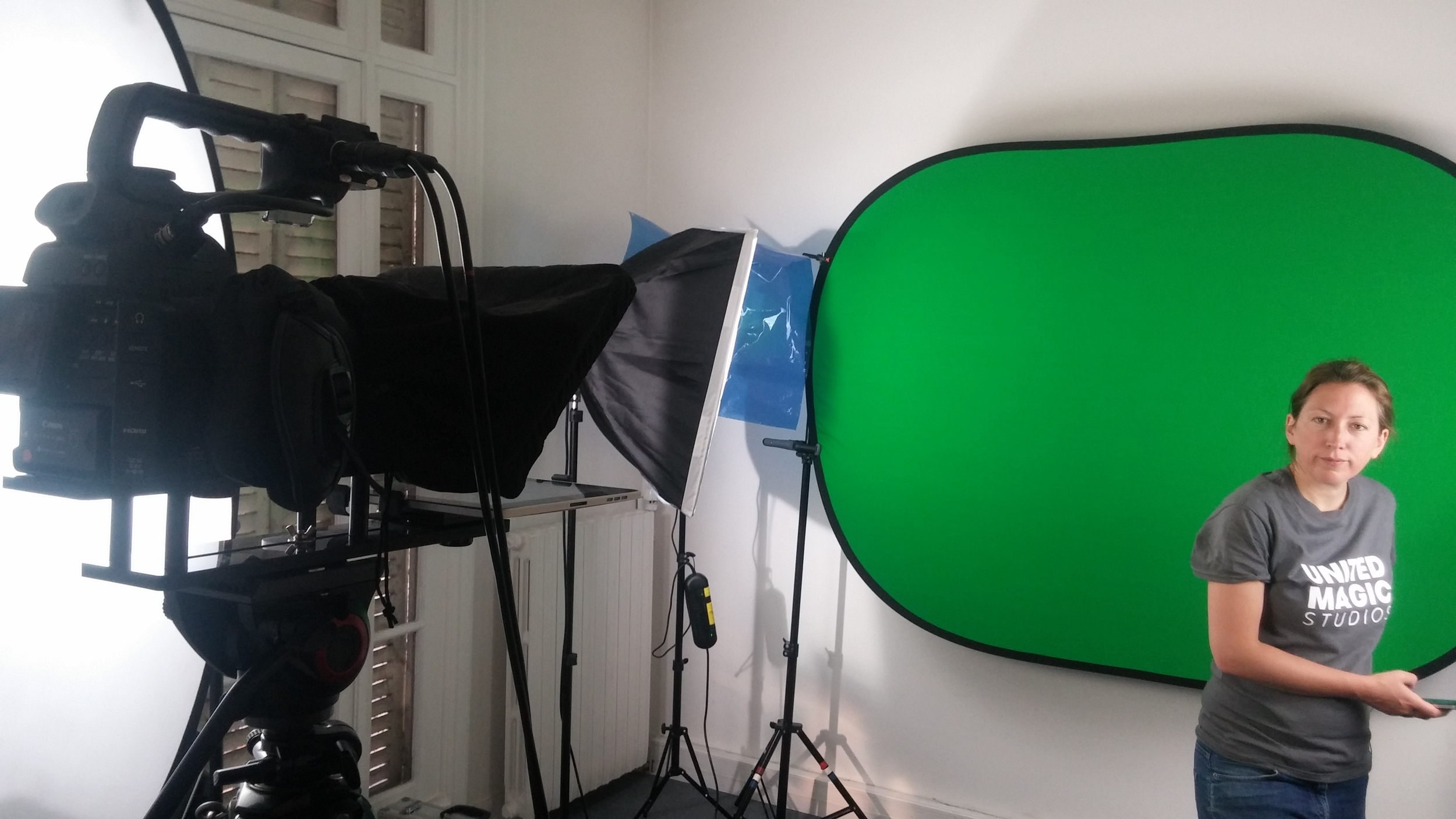 A recent portable green screen setup in Paris. That's fellow freelancer Kirstie Howell (  Elephant Sounds  )