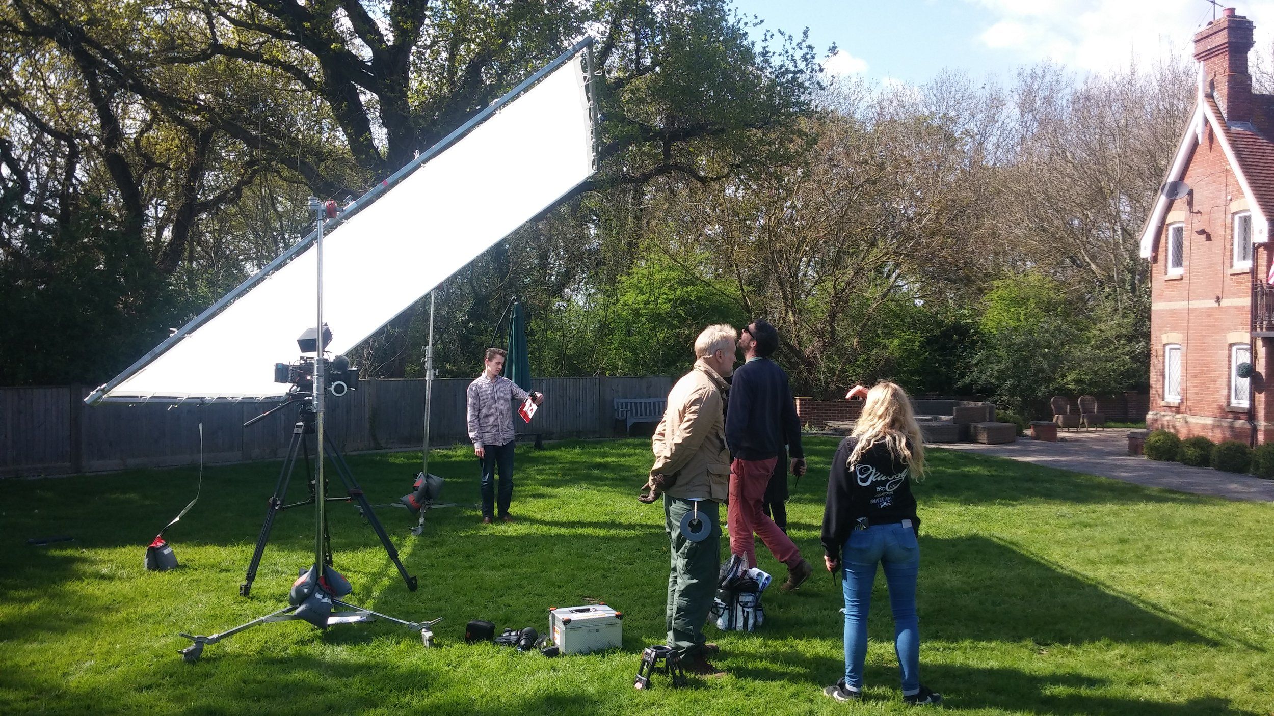 On set with  Substantial Films  recently; on this bright day a huge trace frame was used to soften the harshness of the sun. Because our shot involved two actors we needed to diffuse a large area.