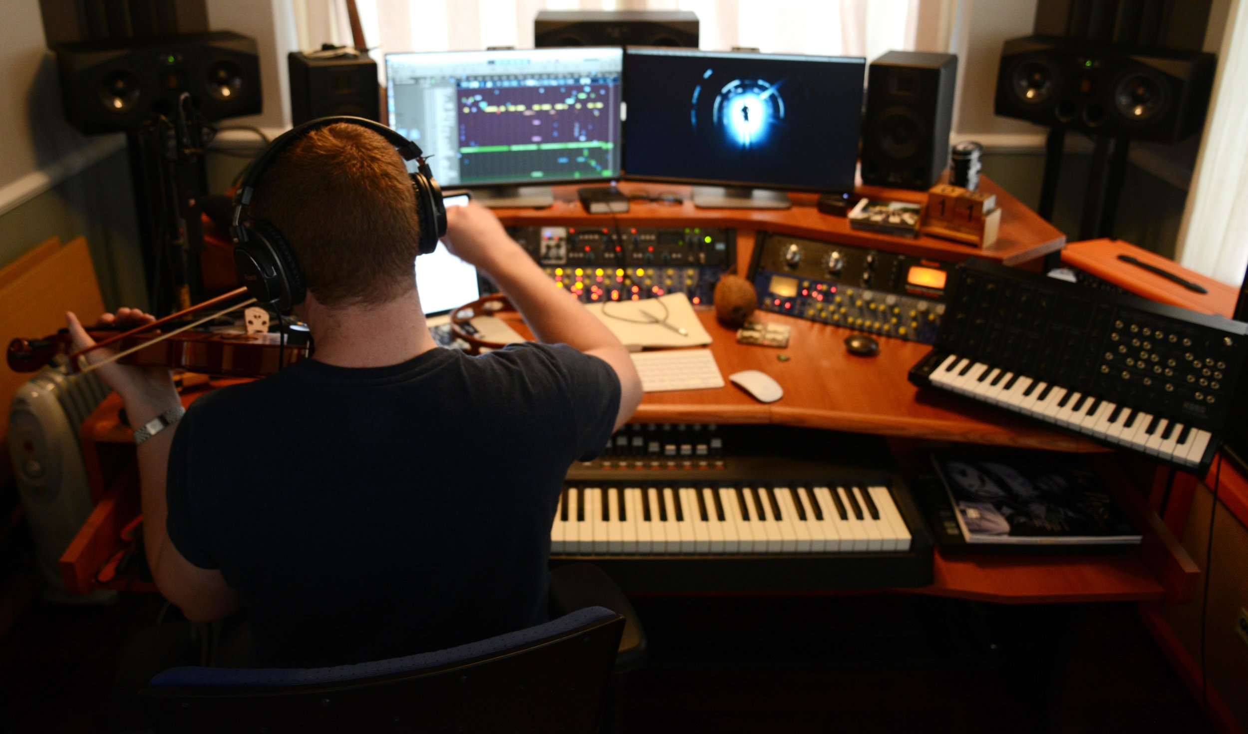 The film's composer (and co-producer) Harry Kirby at work