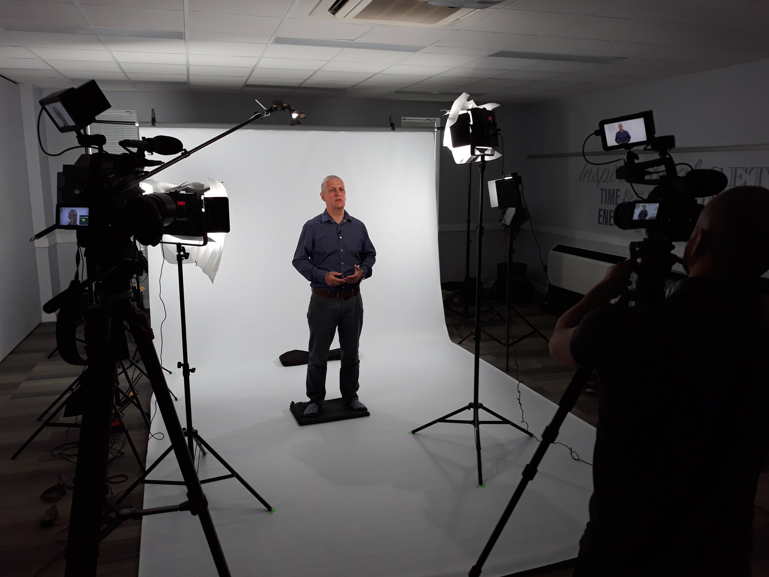 Our setup allowed for 2 cameras to shoot - one on a medium shot and the other on a close up. With  325productionsUK