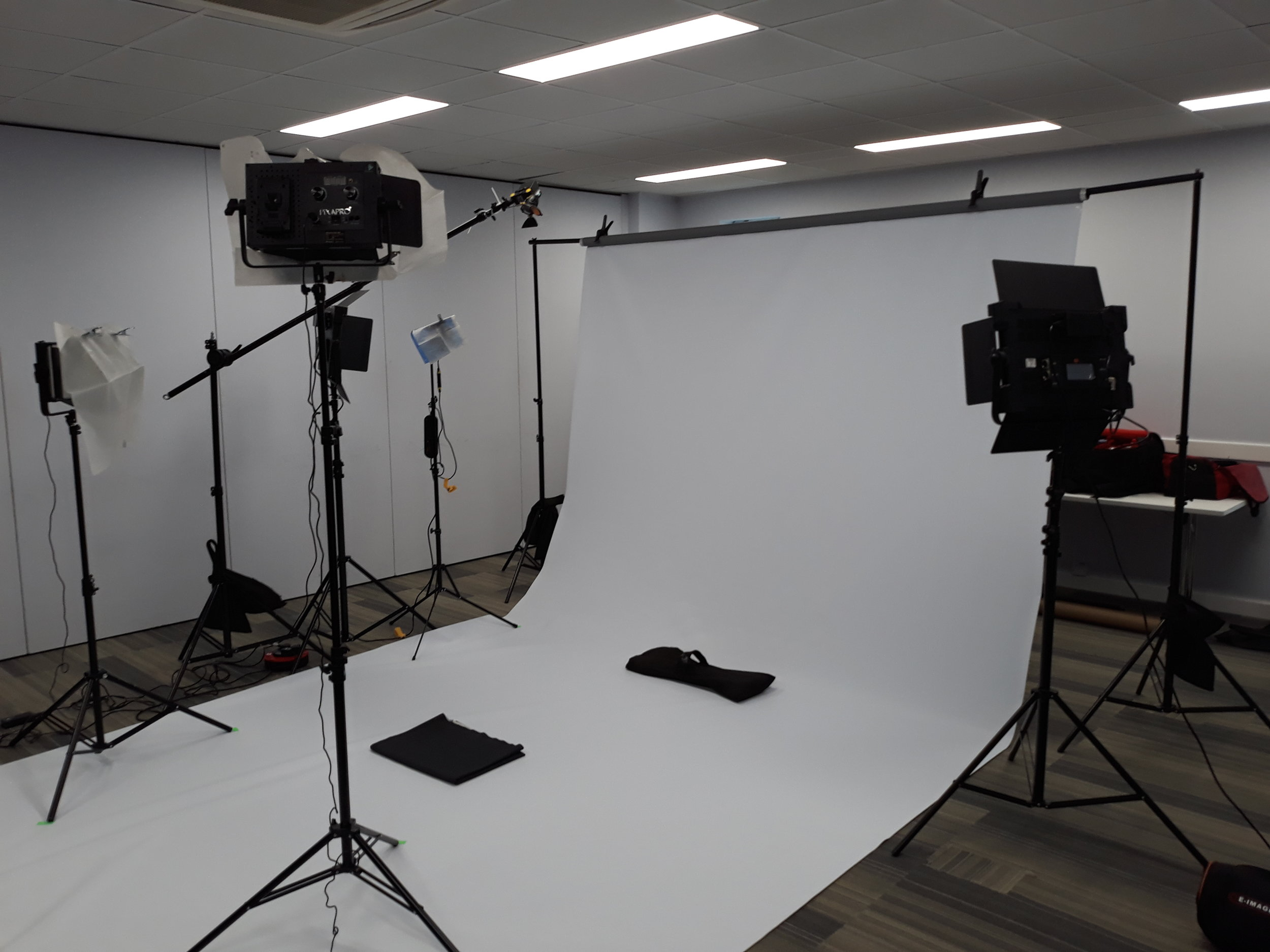 Our setup in an empty office. Good thing we had lots of space here because we needed it!