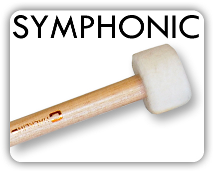 Specifically designed for maximum tonal response 'Symphonic' timpani mallets are made in five varying grades from staccato woodball, through medium solid felt to seamless sack-type. The latter having cork inner cores oversewn with fine gradations of piano felt. The parallel handles are of selected turned maple finished with hard lacquer