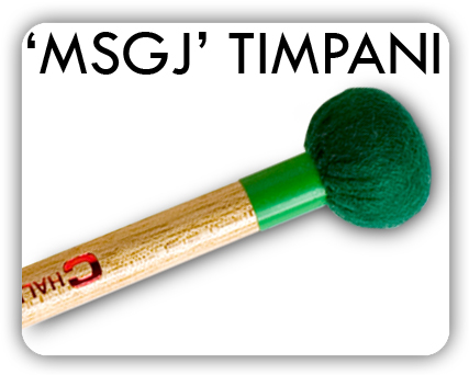 The MSGJ range (new for 2006) has felt ball inner cores specially layered with seamless piano felt. The tapered handles add to a pleasing balance. In addition to hard, medium and soft, a thin felt staccato and a bright solid ball 'forte' model create new and exciting sound possibilities.