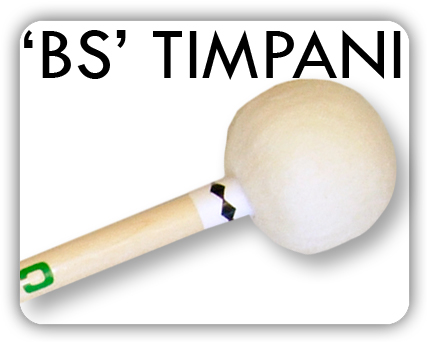 The BS timpani mallets are of the same sack-type as the MS symphonic but with 10mm birch dowels and wooden inner cores most suitably balanced for the classical repertoire. A notable addition is the BS21chamois headed stick for players who wish to impart authentic crispness and attack for music of the baroque period.