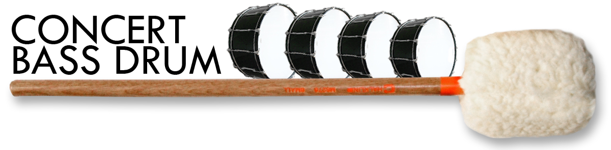bass drum mallets designed for the concert artist desiring full tonal projection.