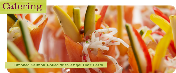 Upstream Catering Smoked Salmon Rolled with Angel Hair Pasta