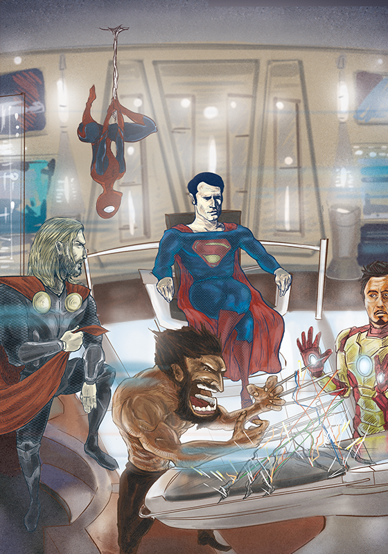 A mash up of big superhero movies.