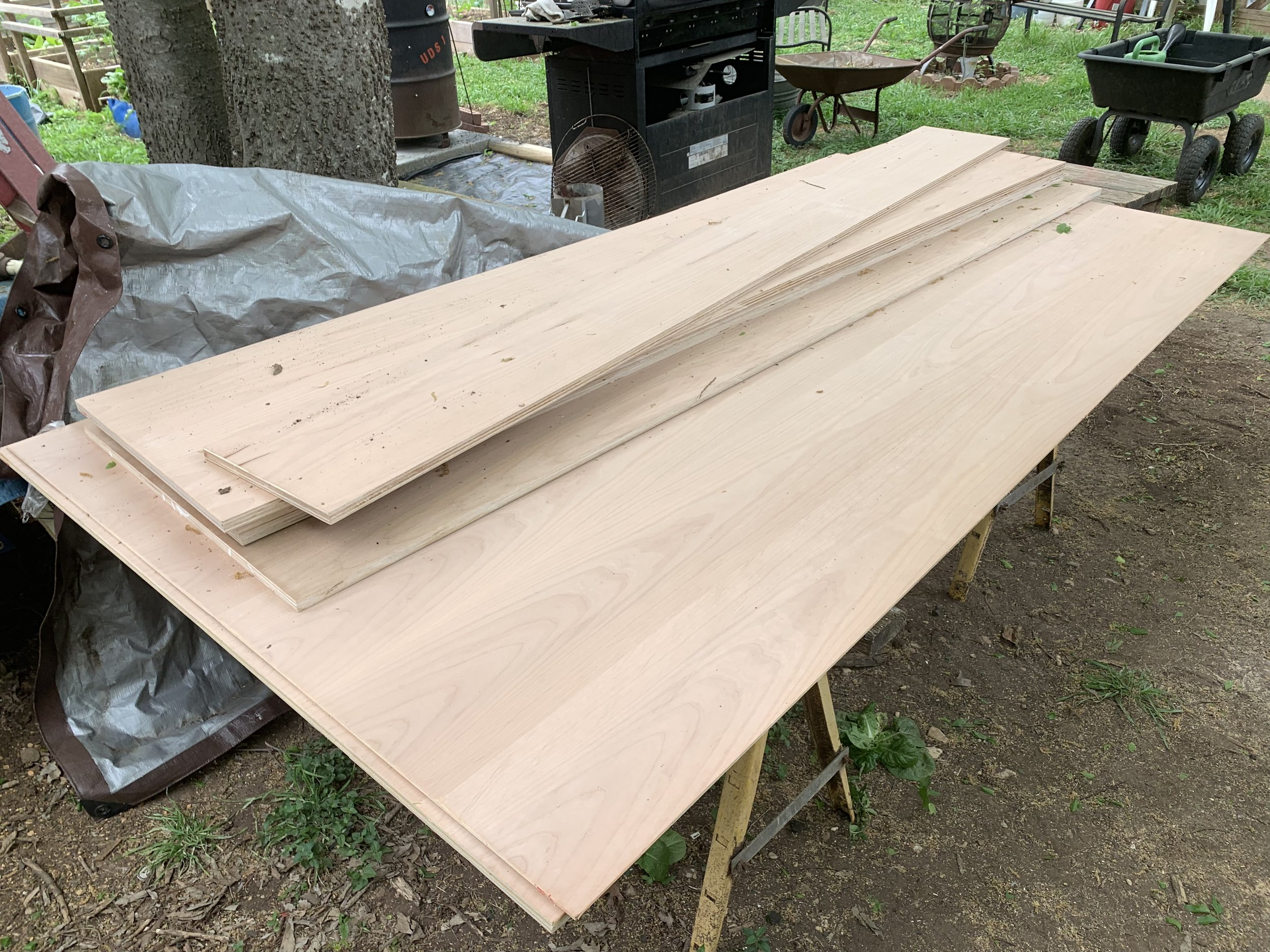 With our big cuts done, we ripped the pieces in half for the backs and sides. Unfortunately, we needed one extra sheet. Oh darn. I have to go back to Austin Fine Lumber…