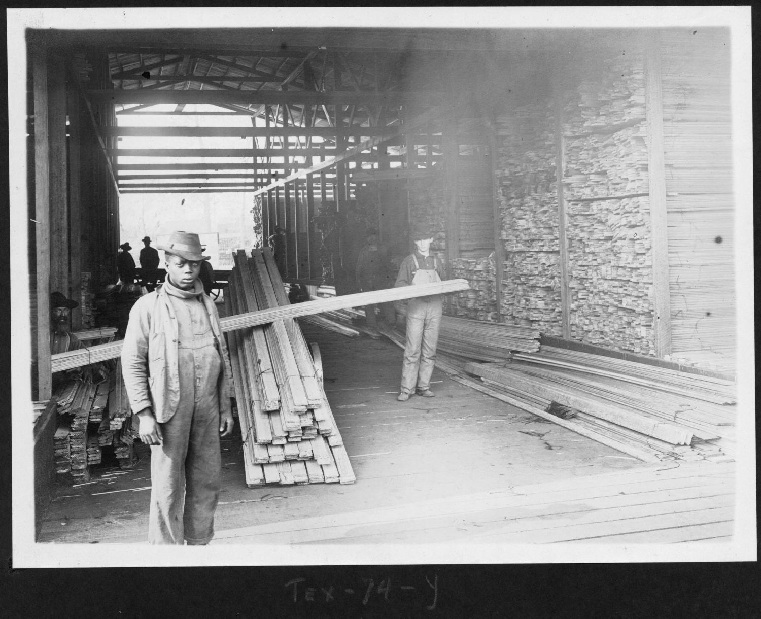Tex74 Workers with Dressed Lumber in Dry Shed