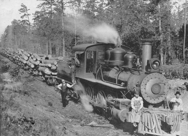 S.P. 341 sitting on cow catcher log train 1907