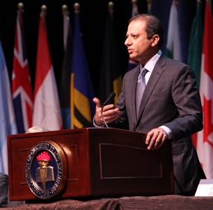 Bharara talks to the attendees.