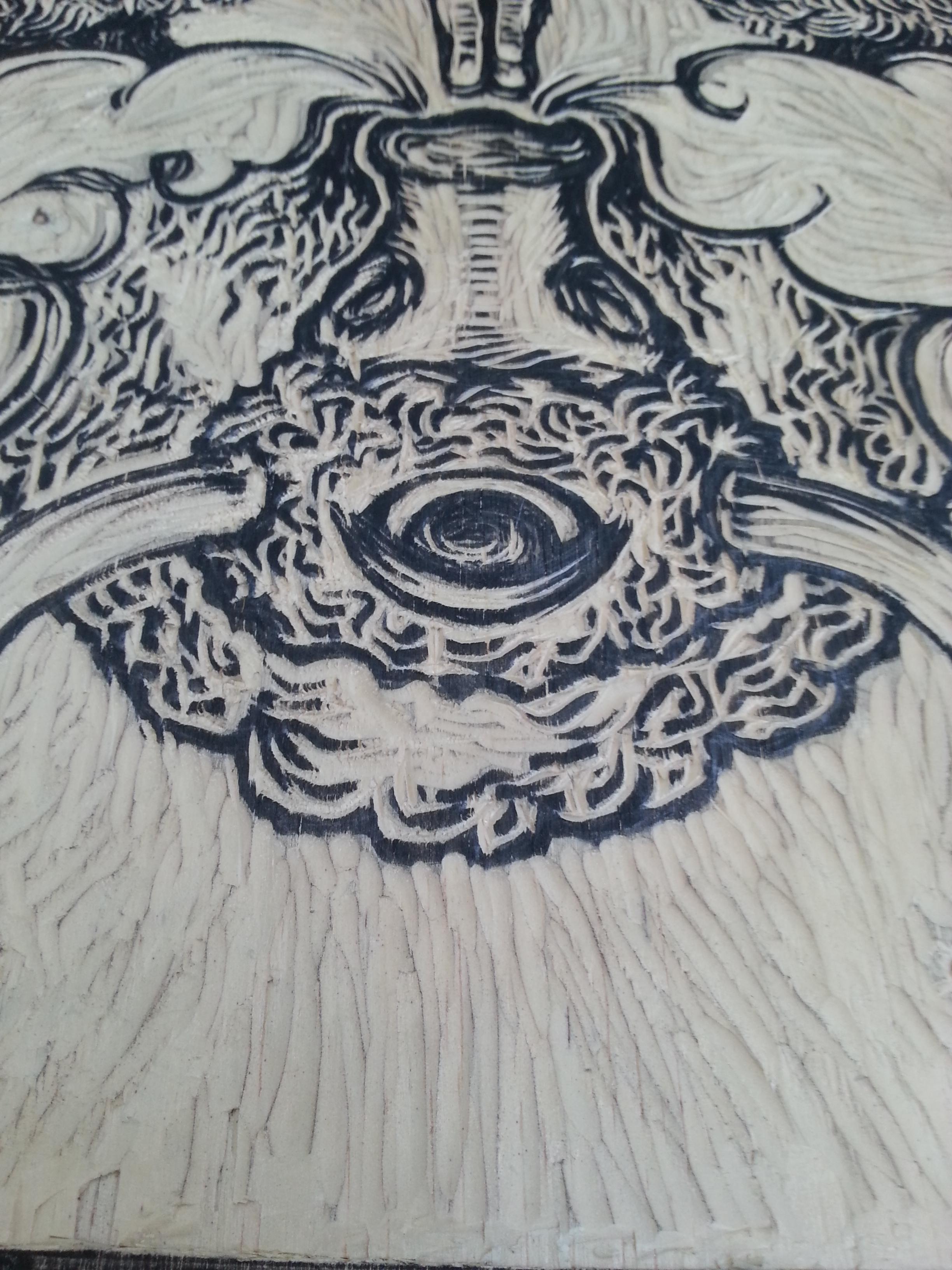 wood cut in progress...