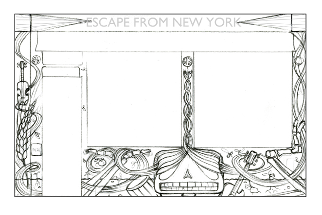 """A sketch for an exterior mural for the good folks at EFNY pizza in ye old mission district, SF, CA."