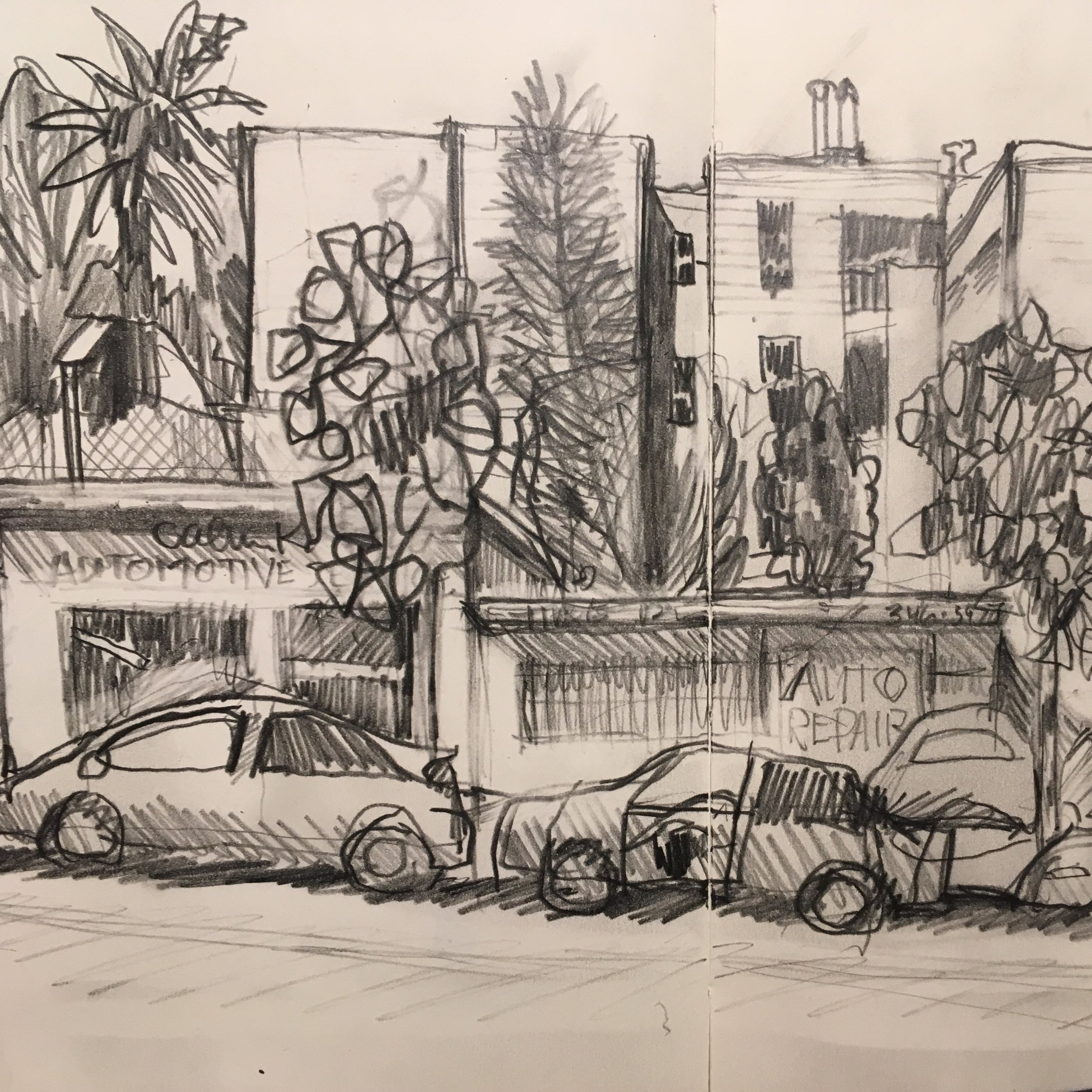 Divisadero Street study, pencil | sketchbook