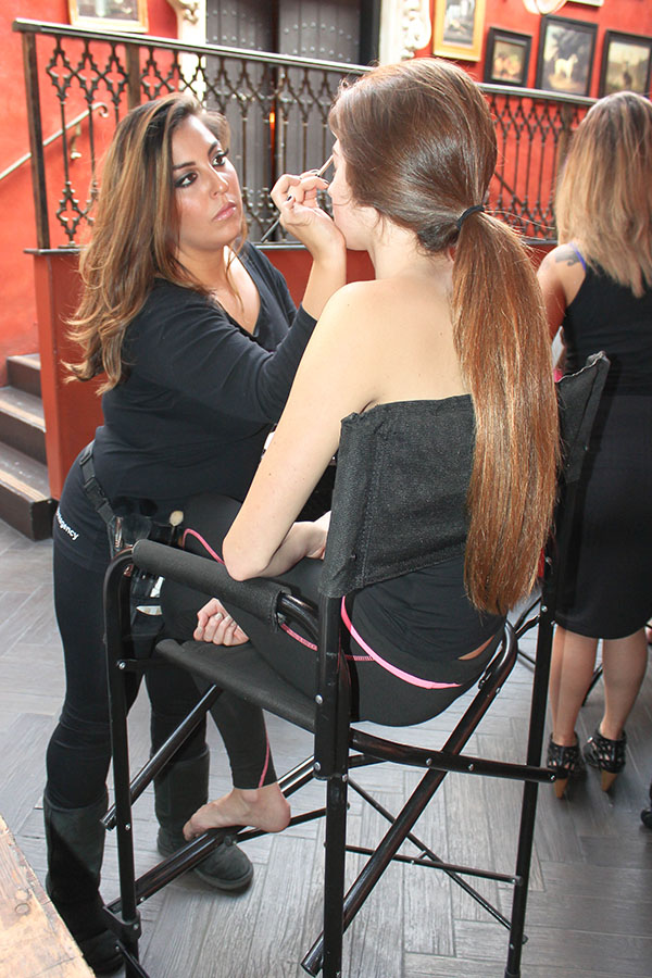 Natalie spends about 60 minutes on full face makeup and hair to get her model runway-ready.