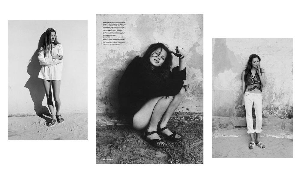 1990: Kate Moss is photographed wearing Birkenstocks for British magazine The Face.  PC: lamanufactuera.com