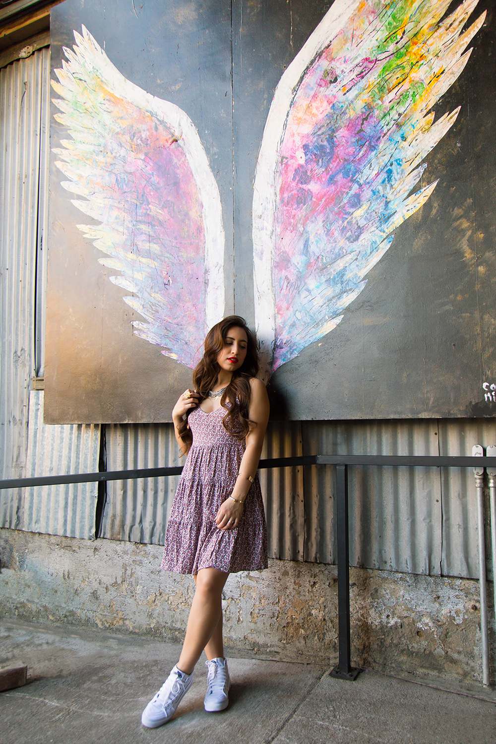 Angel wing paintings by Collette Miller can be found in the Arts District in downtown Los Angeles.