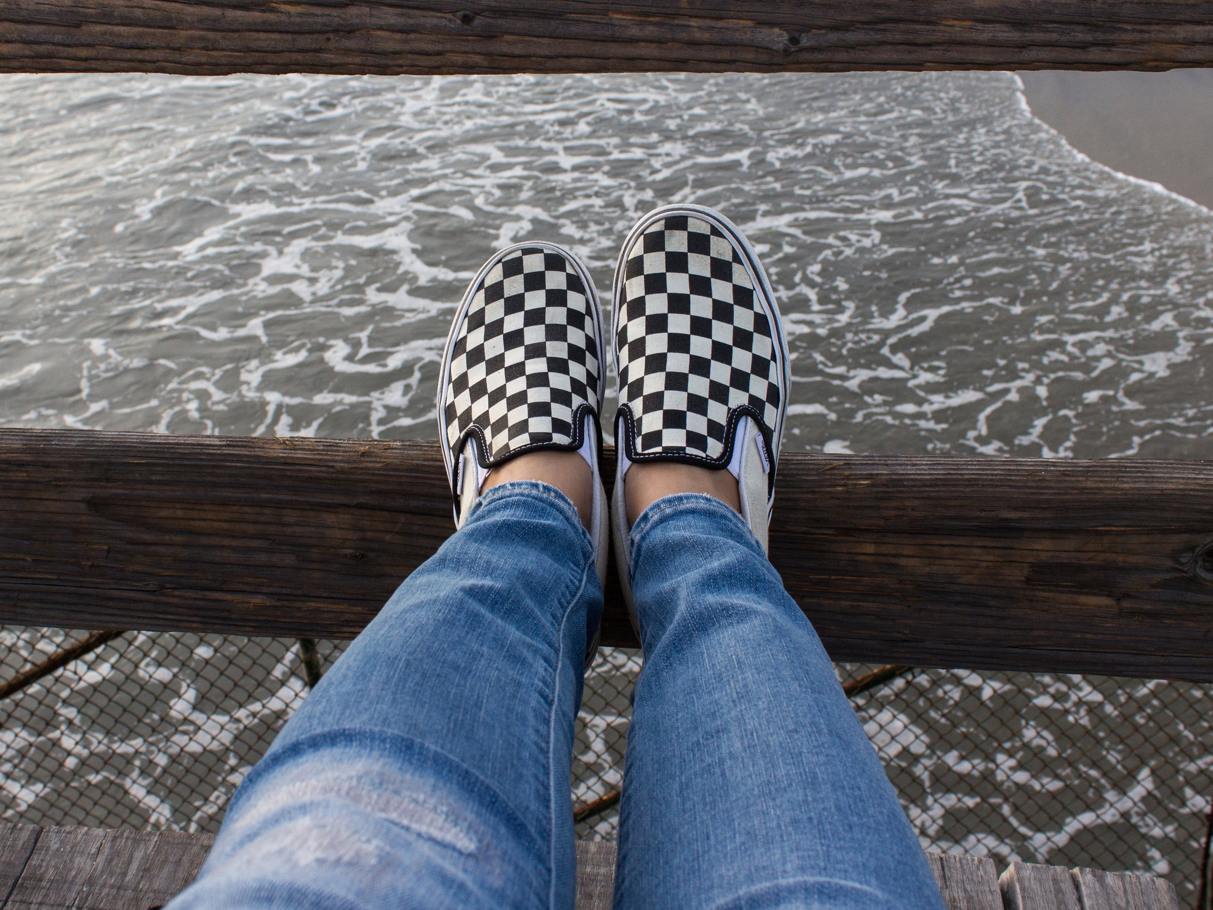Vans Classic Checkerboard Slip On in Black White