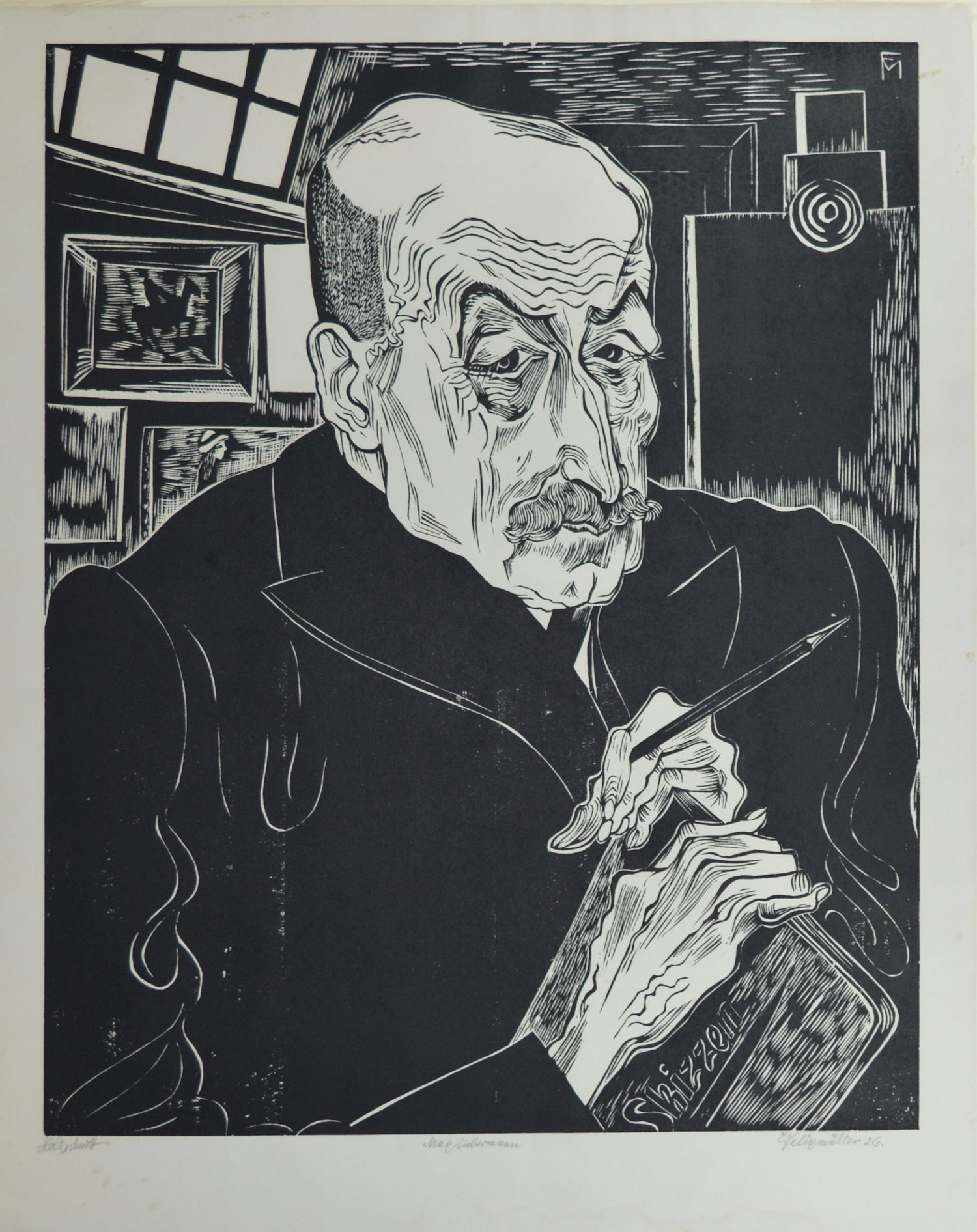 """Conrad Felixmuller (1897 - 1977)  Bildnis Max Liebermann , 1926. Woodcut, edition of 70. Image size 15-3/4"""" x 19-5/8"""". Very fine, dark impression; minor spots & damp stain well outside of image area. An iconic Expressionist work.   $2,600"""
