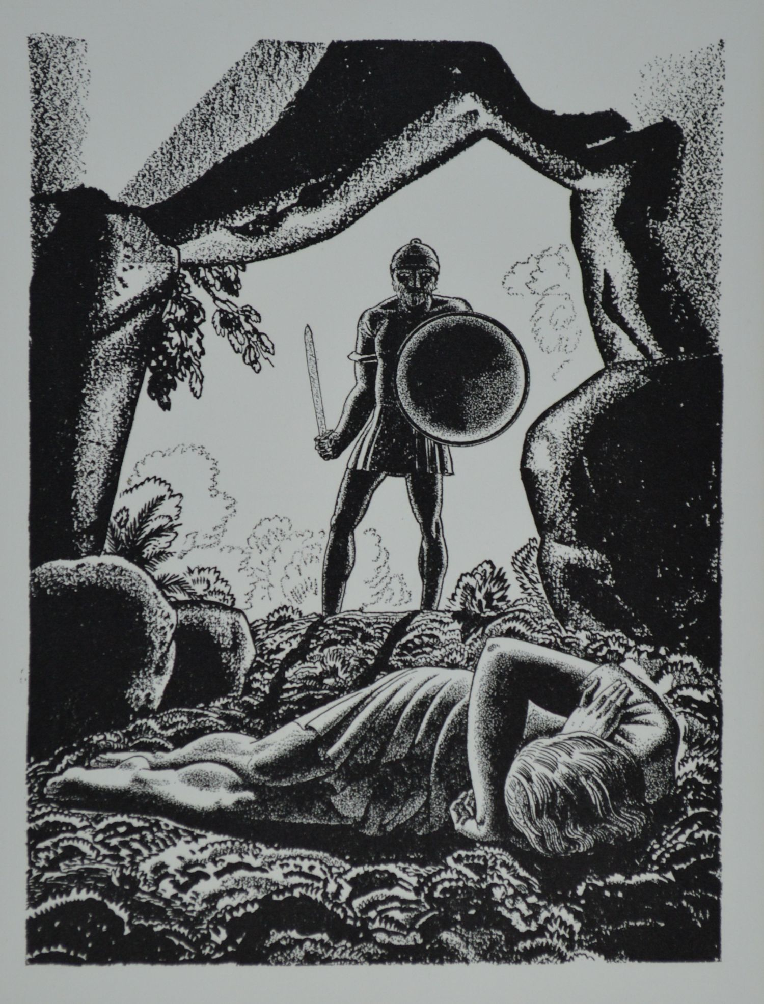 Rockwell Kent (1882 - 1971) Lithograph Illustration for  Cymbeline  from   Forty Drawings Done by Rockwell Kent to Illustrate the Works of William Shakespeare ,   Garden City, New York, Doubleday, 1936.  A total edition of 1,000 portfolios was printed. This print has been removed from its original acidic mount, cleaned, and matted using archival materials. Very good condition.   $40