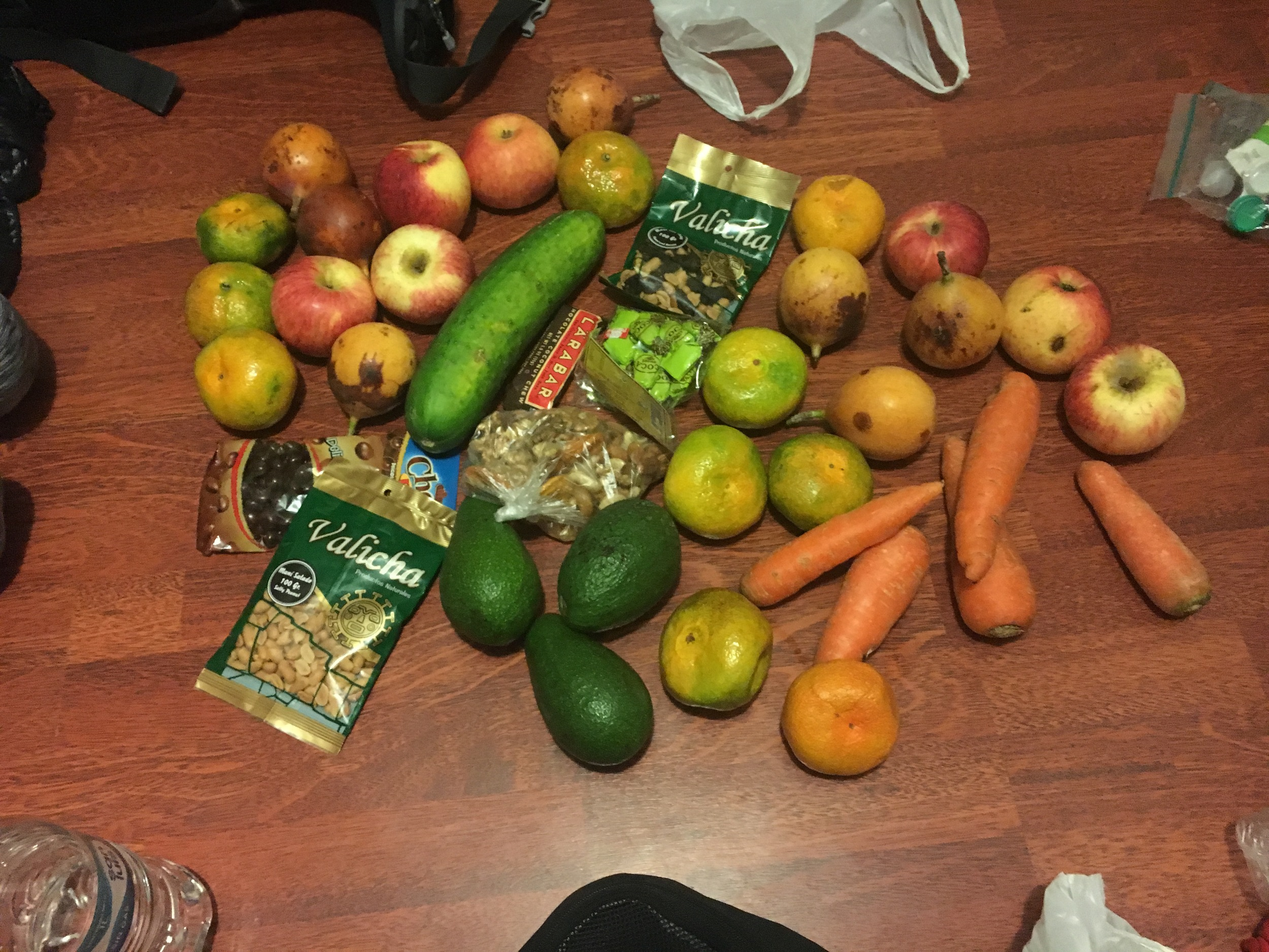 Most of the food we brought to trek with. Grossly underestimated our nutritional needs. Also got fed up with carrots.