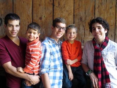 1 college student, 2 high schoolers, 2 little guys