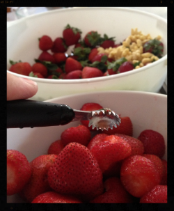 I had two little helpers with the strawberries. The first was this handy strawberry huller from Pampered Chef. LOVE IT. Never want to deal with strawberries without it.