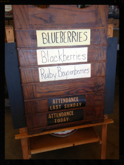 I took this picture at the blueberry farm store because it was a church attendance sign just like we had in the church where I grew up! If I ever see one somewhere I'd really like to get it. I'm not usually nostalgic, but I really like this.