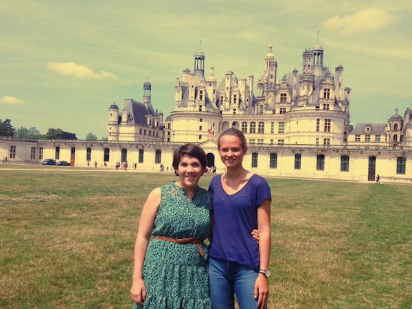 Our daughter and her French sister, visiting Castle Chambord, France