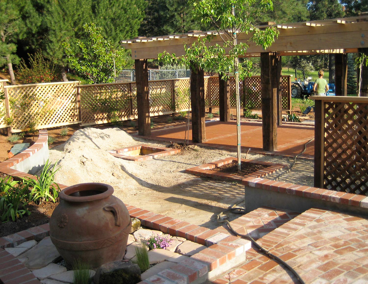 Outdoor living area under construction