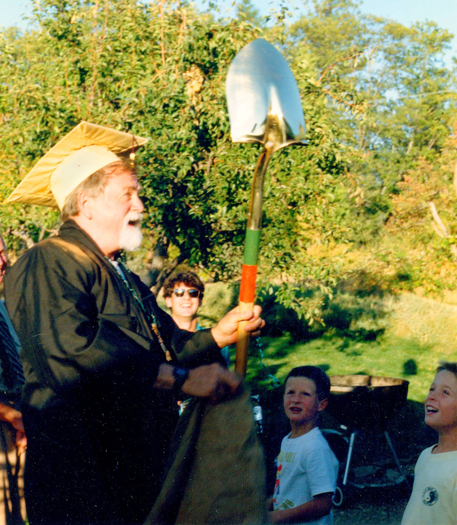 "Legendary landscaper Paul Noel receiving the prestigious ""Golden Shovel"" for lifetime achievement"