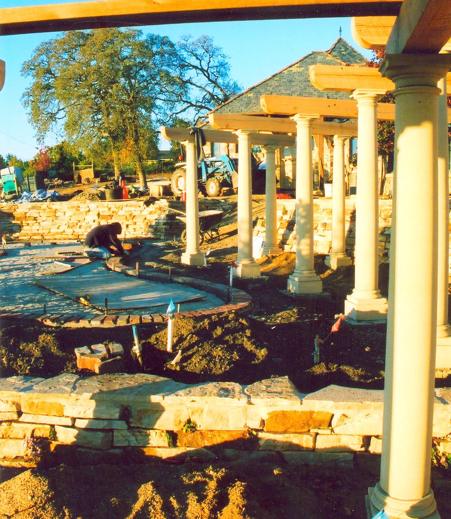 Landscape construction underway
