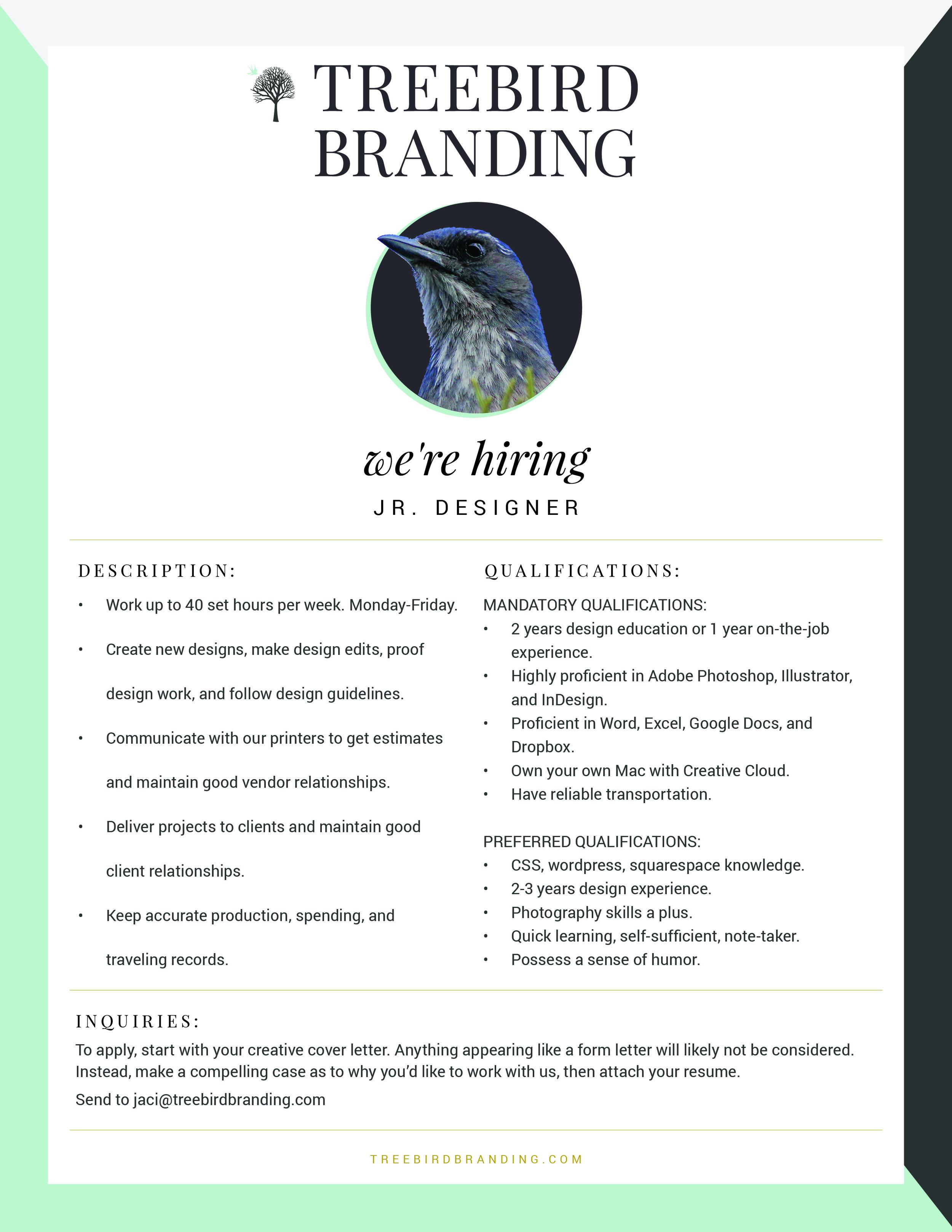 We're Hiring: Jr  Designer — Treebird Branding