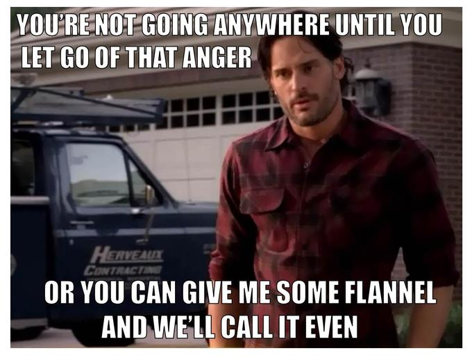 "[ Image Credit Note: This picture is brought to you by a meme search page entitled: ""Flannel Fetish Alcide."" I felt like the text in this meme made it vaguely related to mental health, and, therefore, an appropriate way to link my werewolves metaphor. Also, I feel like it is empirical data that the internet is in fact a weird and wonderful place with something for everyone. ]"