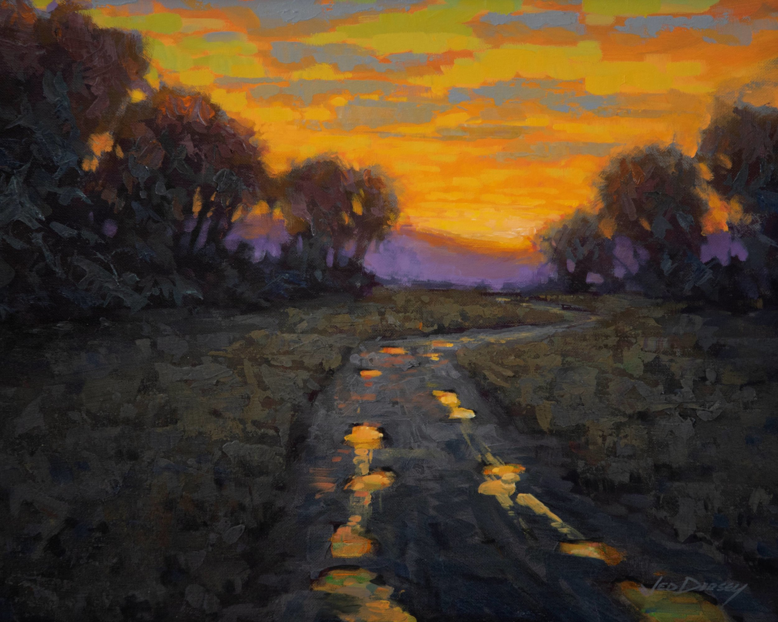 Jed Dorsey_Evening Glow, Country Road_16x20_fr21x25_960.jpg