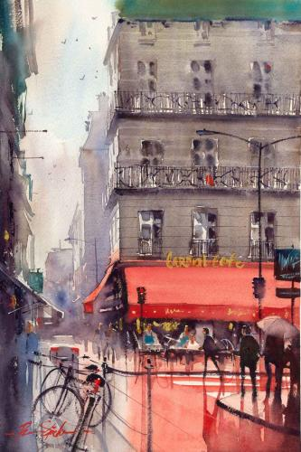 Ron Stocke_The Red Cafe_Watercolor_21x14.jpg