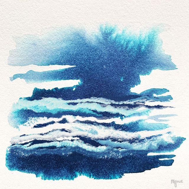 54/100: Mixed Media for some playful clouds ☁️