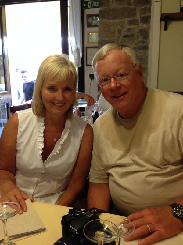 Not locals: Dave and Sandy Sowden, grabbing lunch in Cinque Terre!