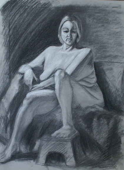 Gabriella D'Abreau- Anatomy and Figure Drawing II. Charcoal on paper. 18 x 24 in.