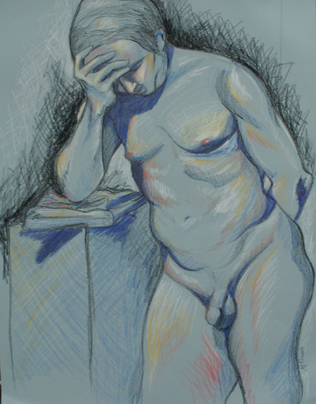 Gabriella D'Abreau- Anatomy and Figure Drawing II. Charcoal and color pencil on paper. 18 x 24 in.