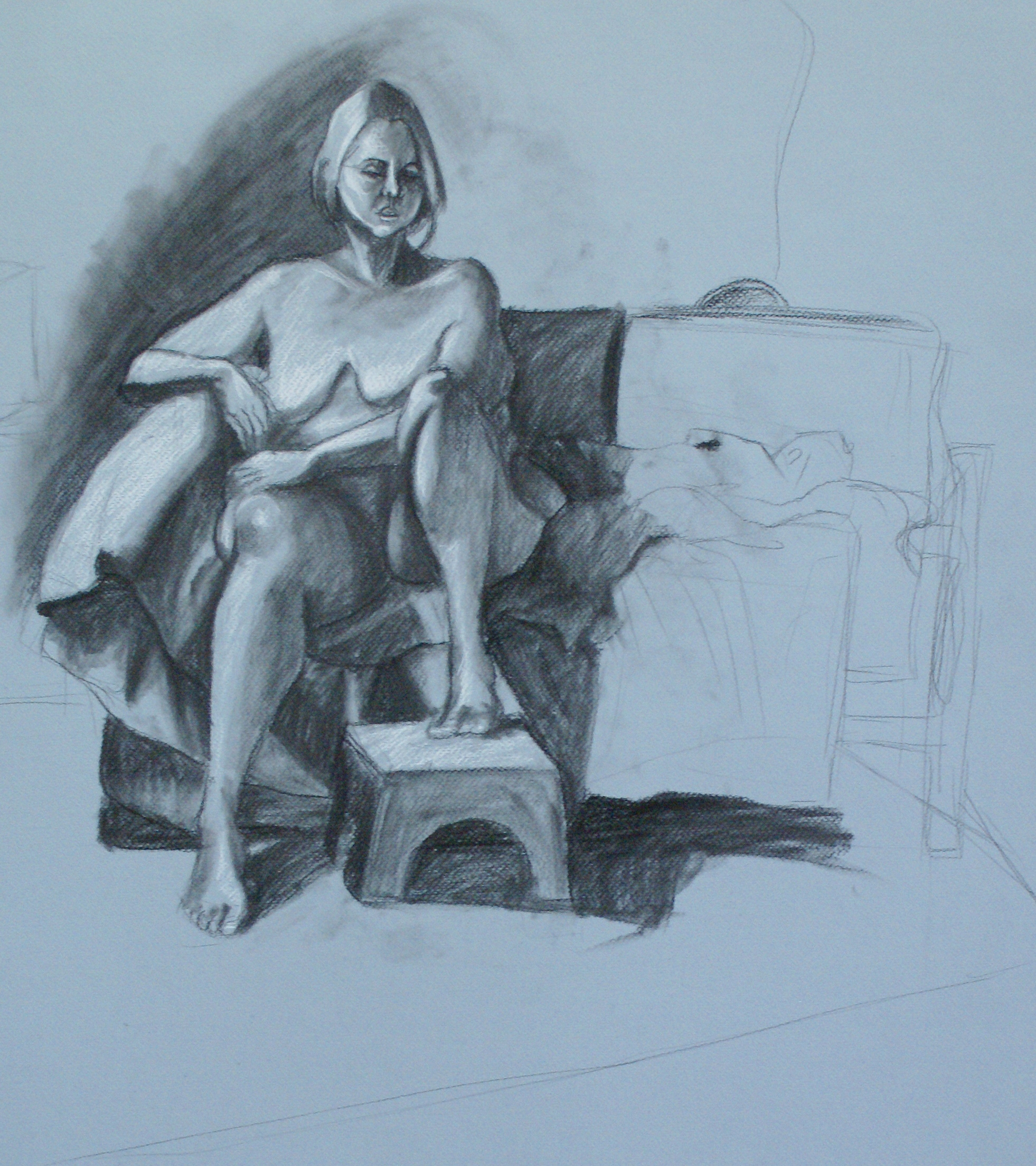 Orlando Rodriguez. Anatomy and Figure Drawing II. Charcoal on toned paper. 18 x 24 in.