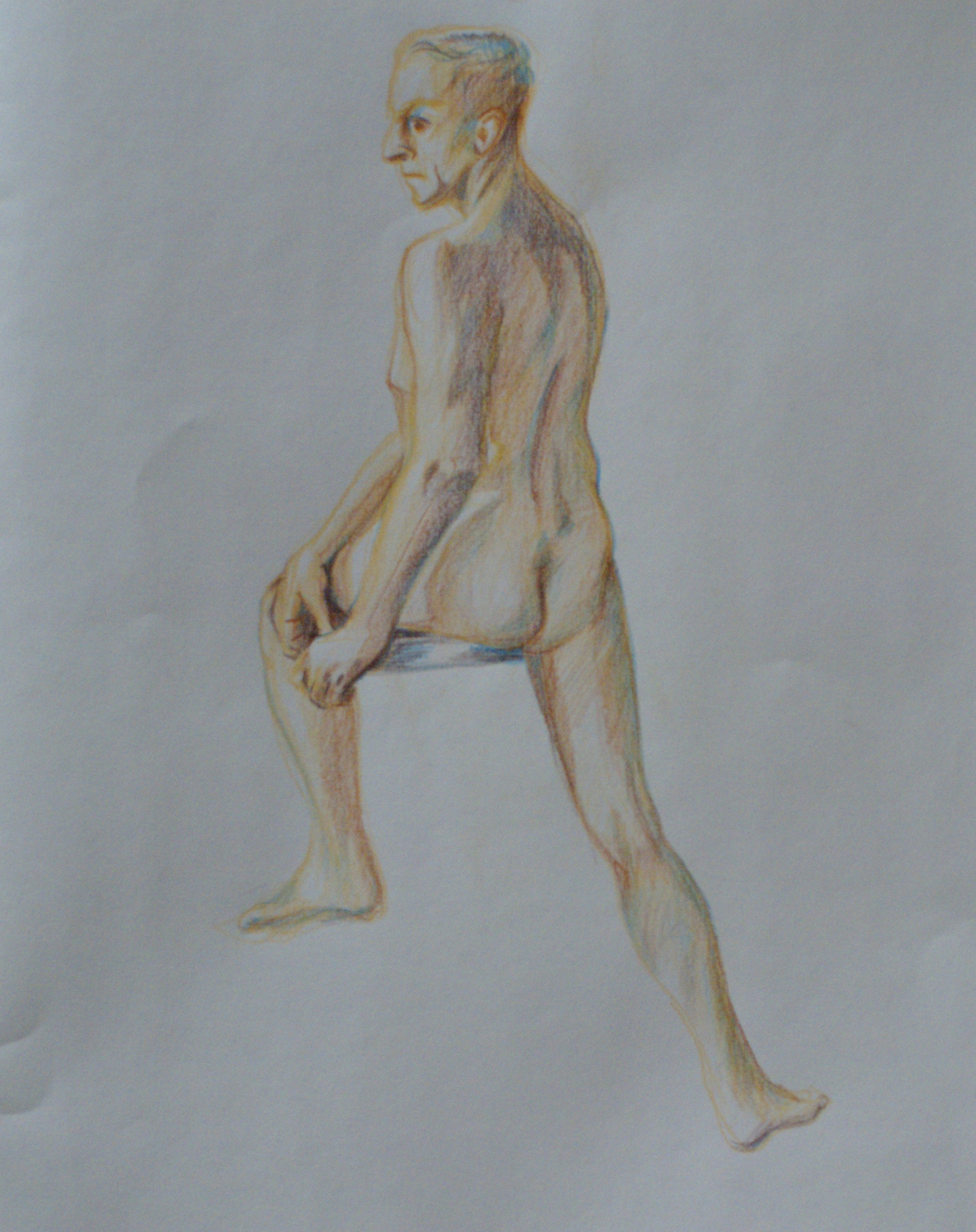 Orlando Rodriguez. Anatomy and Figure Drawing II. Charcoal and color pencil on toned paper. 18 x 24 in.