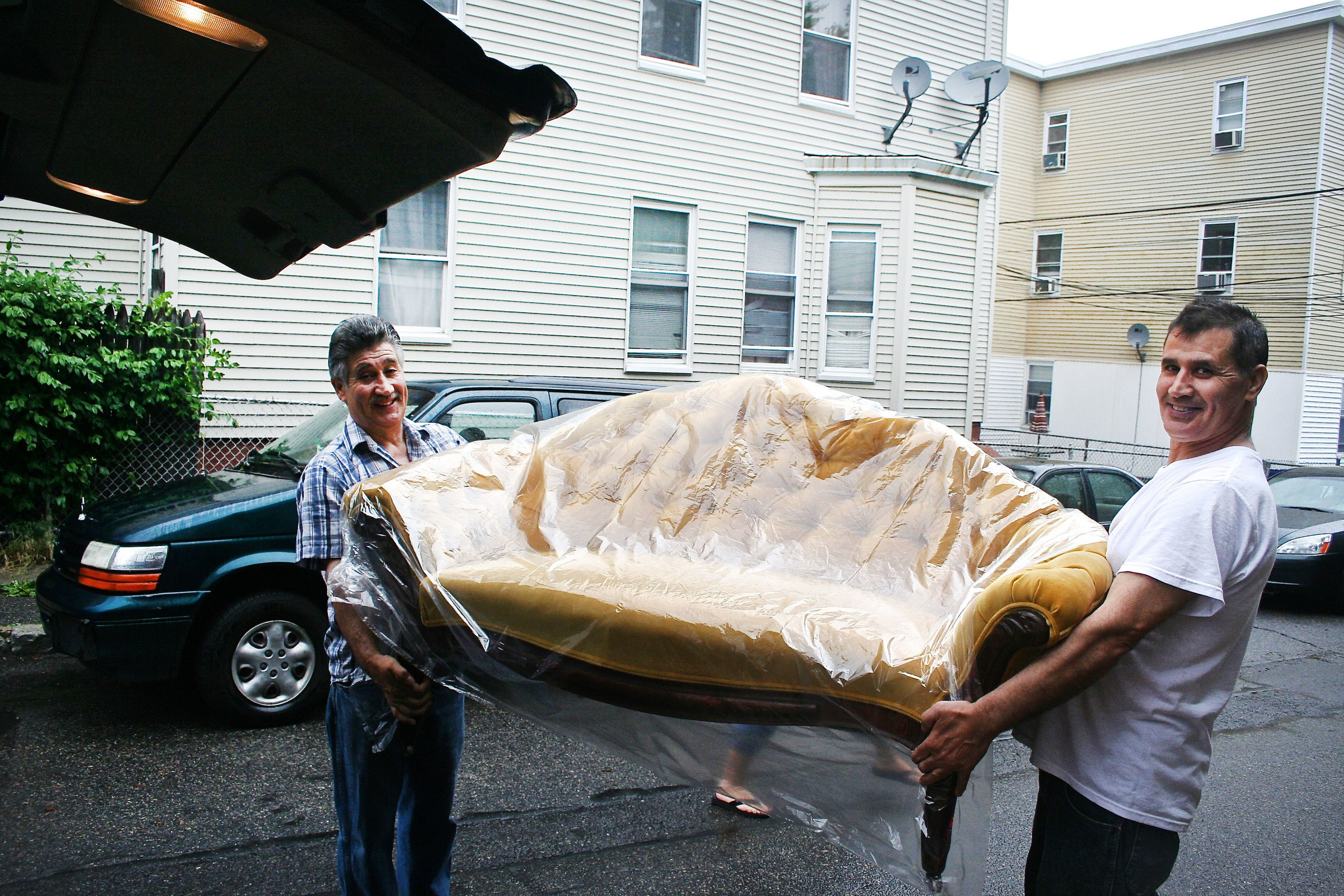Tony & His Brother Loading our Couch