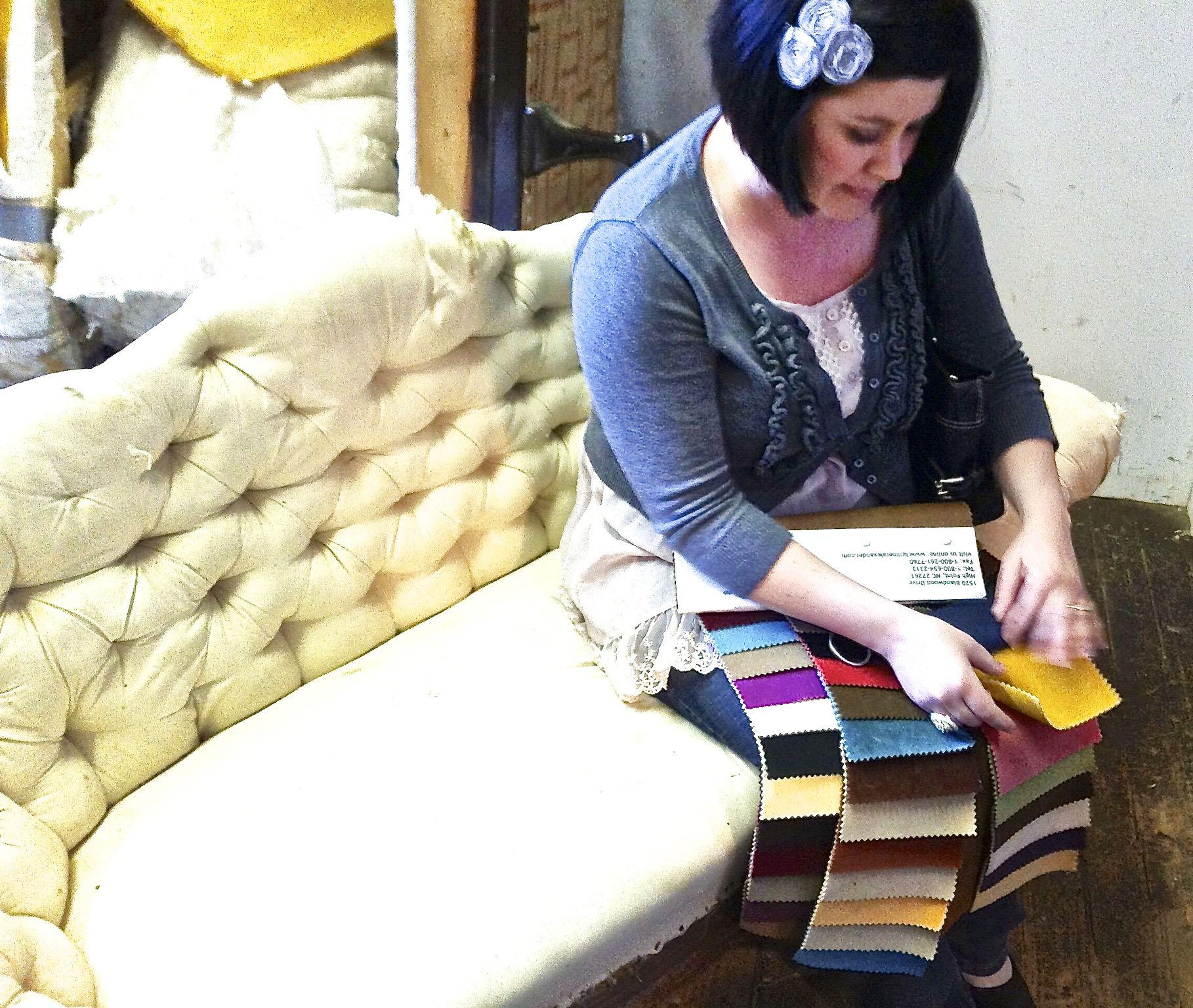 Karen Looking at Velvet Samples