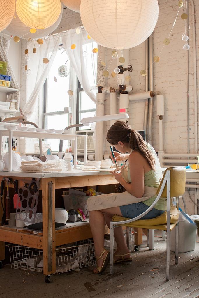 Susan working in her studio
